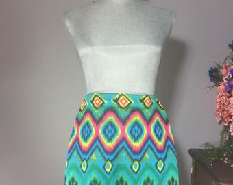 Psychedelic Spandex Mini Skirt Green Teal Yellow Pink Red Orange Black Multi-Colored Body Central
