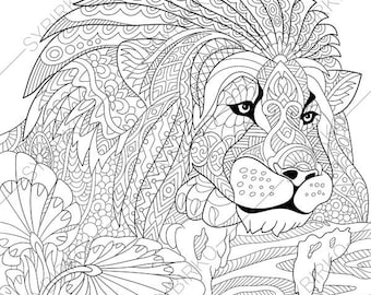 Lion. Leo. 2 Coloring Pages. Animal coloring book pages for Adults. Instant Download Print