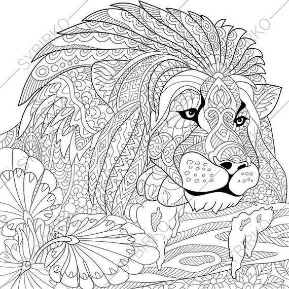 Lion. Leo. 2 Coloring Pages. Animal coloring book pages for