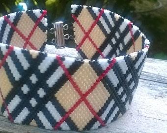 Tartan Plaid peyote cuff Bracelet