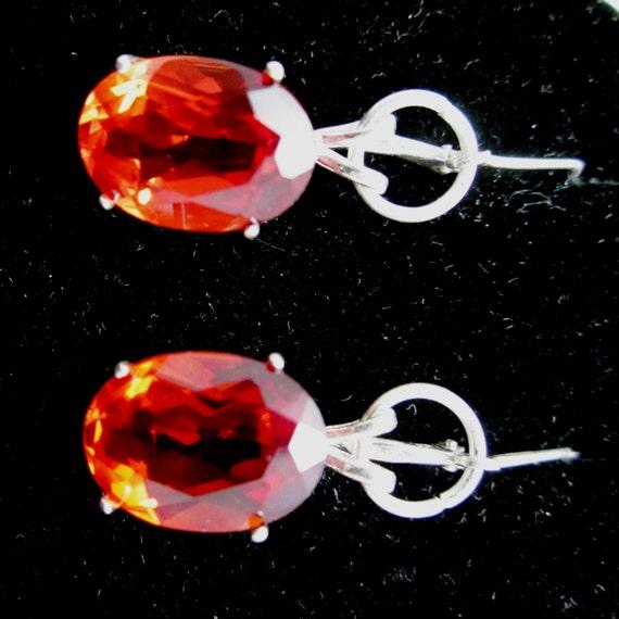 Earrings Jim Padparadsha Sapphire, orangish-red, silver leverbacks 28ct