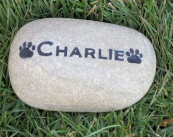 Pet Loss, Sympathy, Personalized Pet Memorial Stone, Engraved Stones, Dog, Cat Garden Stone, Grave Marker, 5-6 Inch