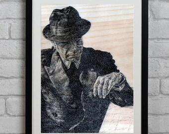 Leonard Cohen on Wood Paper Illustration Print - Singer, Musician, Hallelujah, 2016