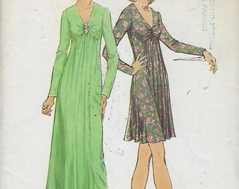 """Simplicity 6024  Junior Petite And Misses' Dress in two lengths  Size 12  Bust 34""""  UNCUT"""