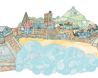 North Berwick Beach Illustration Print