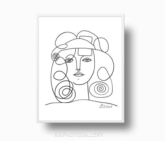 Picasso Line Drawing Face : Picasso print girl face of peace minimalist woman