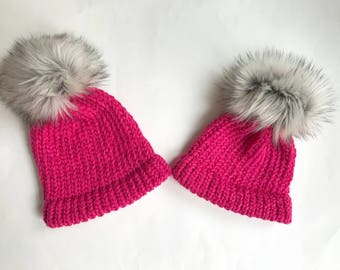 Set of 2 matching hats with faux fur pom pom