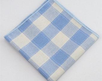 Light Blue Plaid Pocket Square | gingham handkerchief | mens handkerchief | pocket square for wedding | mens pocket squares | blue wedding