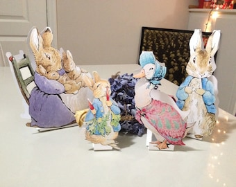 INSTANT DOWNLOAD - LARGE - Peter Rabbit Cut-Out Stands - 10 Characters - Baby Shower Table Decorations -Beatrix Potter Peter Rabbit Stands