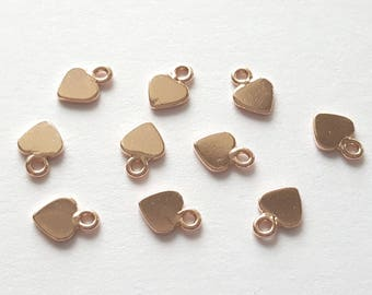 pack of 2, rose 22k vermeil sterling silver 925, 7mm x5mm small heart tag, pretty [our ref 13-0009]