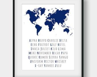 60% OFF Phonetic Alphabet World Map Print, Aviation Art, NATO Phonetic Alphabet Print, World Map Decor, Aviation Poster, Navy Wall Decor
