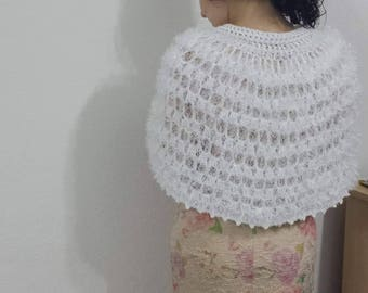 Bridal poncho crocheted poncho bridal clochting special day gift holiday gift crochet for bride white poncho