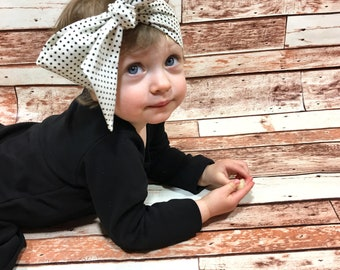 Devorppa Noir Dottie Headwrap- Head Wrap; Polka Dot Headband; Polka Dot Headwrap; Polka Dot Bow; Baby Headband; Baby Headwrap; Toddler Bows