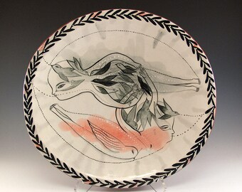 Large Footed Oval Ceramic Bowl -  Painting by Jenny Mendes - Flight  - Ready to Hang on the Wall