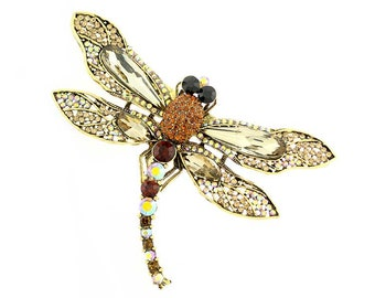 Dragonfly Brooch, Dragonfly Broach, Amber Brown Rhinestone Insect Dragonfly Jewelry Component, Dragon Fly DIY Craft Supply Embellishment