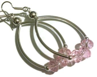 Crystal Beaded Hoop Earrings