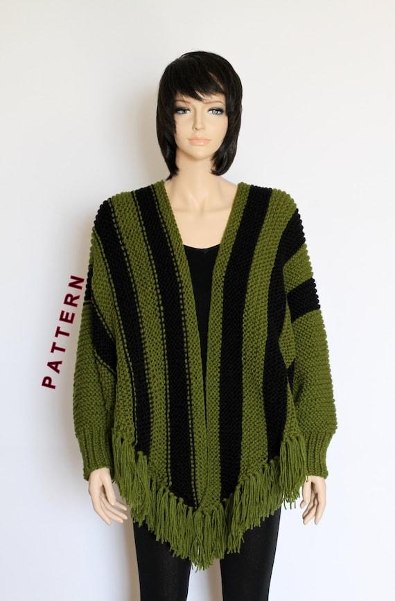 Knit Poncho Cape Pattern Shawl Pattern Striped Knitted Poncho