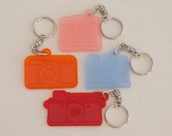 Retro film camera keyrings. Vintage analogue range finder compact instant cameras Laser cut & engraved matt acrylic plastic L207