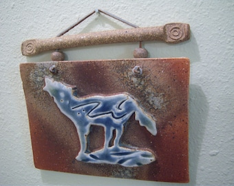 ceramic wall plaque,blue glazed wolf,etched ceramic finish,leather accents and hanger,southwestern art,OOAK,wolf collectors,home decor