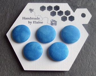 Fabric Covered Buttons - 5 x 22mm Buttons, Handmade Button, Sky Blue Cloudy Sky Mottled Ice Blue Cerulean Forget-Me-Not Azure Buttons, 2528