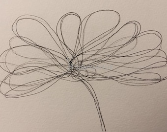 Ink line drawing lily - print