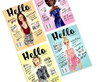 Postcard set, Fashion Postcards, postcard display, fashion illustrations, fashion stationary, fashion cards, fashion illustration
