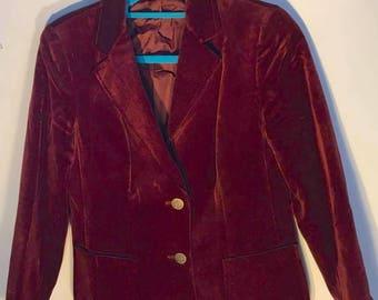 Vintage velvet blazer in rust