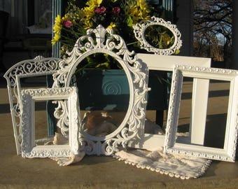 Set Of 6 Shabby Chic Ornate Picture Frames / White Picture Frame Set / Wedding / Nursery Frame Collection