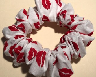 Large Bright Red Lips on White Cotton Handmade Hair Scrunchie