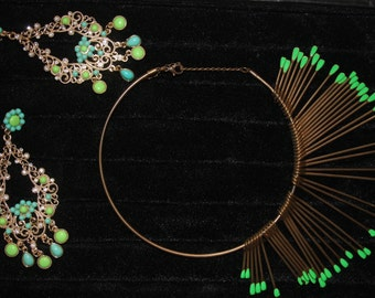 Boho metal jewelry set Gold tones green necklace earrings Statment Bohemian necklace Indian style earrings Ethnic jewelry for women