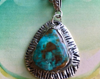 Metal clay turquoise pendant