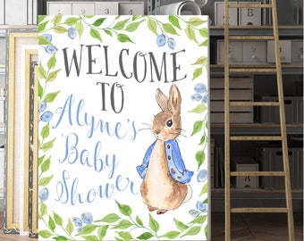 Baby Shower Sign, Custom welcome sign, Personalized, Peter Rabbit Baby Shower, Customized, Baby Shower Poster, Peter Rabbit Sign, Printable