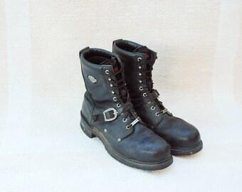 Vintage Harley Davidson Black Leather Motorcycle Boots, Mens 13 / ITEM066