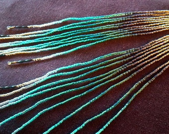 "Maui Swan Cascading Earrings ""Golden Mossy Forest Glow"" Extra long length ~ Delicate Seed Bead Handmade Earrings"