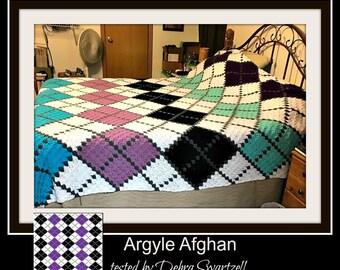 Argyle C2C Graph, Argyle 6 color, Argyle Crochet Pattern, Argyle Corner to Corner