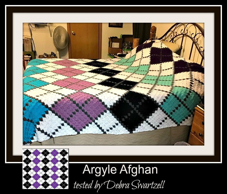 Argyle Afghan C2c Crochet Pattern Written Row By Row