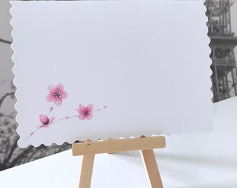 Handmade Blossom Watercolour Cards: Set of Two Hand Painted Watercolour Greeting Cards with envelopes, Original Blossom Watercolour Cards