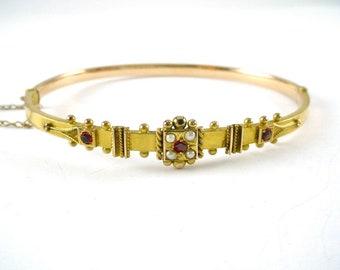 Antique English Victorian Gold Pearl Bangle Bracelet—Birmingham 1850