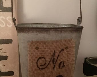 Metal Farmhouse Bucket with Burlap, Rustic Farmhouse Home Decor, French Country home decor, Rustic Decor, Country Cottage, Basket