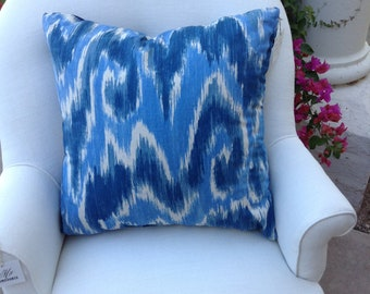 Reversible Blue & White Ikat Pillow, Two Matching Available