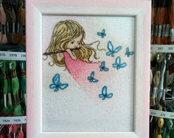 "Embroidered picture / embroidery / Girls / Butterflies / Pink palette / Embroidered picture ""Melody of Flute"""