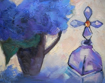 "Painting on Sale, Floral still life, Daily Painting, Small Oil Painting, ""Hydrangea and Cross Bottle"", 6x8"", Reduced from 99.00"