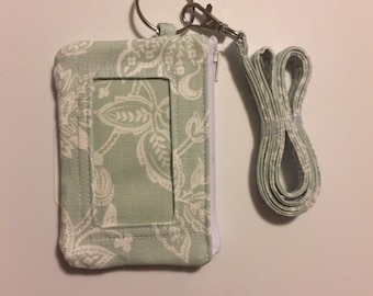 Hand Made Lanyard With ID Wallet in Mint Green Floral Print in Thick Duck Fabric