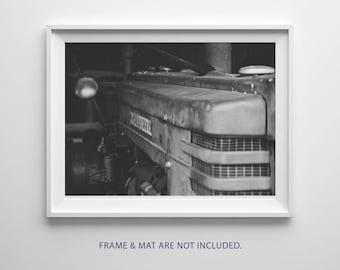 Black & White Photography, Old John Deer Tractor, Vintage, Rusty, Country, Farm, Equipment, Fine Art Print, Wall Art, Still Life