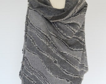 Fringe Scarf, Grey Wool Scarf, Unisex Blanket Scarf, Shawl Poncho, Wool Wrap Shawl, Men's Wool Scarf, Large Wool Shawl