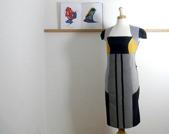 Size L/XL - Suit Patch Dress in Black & Yellow