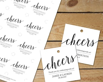 Welcome Drink Tags for Wedding // Printable Wedding Favor Tags // DIY Seating Tags // Cheers Favor Tags