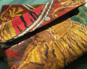 Tapestry Handbag with French Antique needlepoint Carpet Seventies : Le Cannes