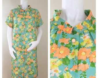 30% Off Sale 60s 70s I. Appel Turquoise Green Orange Floral Short Sleeve Robe, Size Large