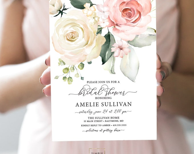 Pink Floral Bridal Shower Invitation - Blush Pink Flowers - Baby Shower - Cream Roses Greenery Invitation Watercolor Printable